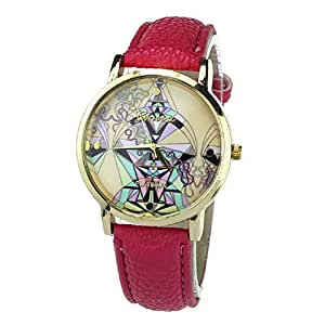 Tonsee(TM) 1PC High Quality Aztec Tribal Pattern PU Leather Quartz Wrist Watches Watch (Hot Pink)