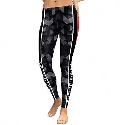 YUJIAKU Leggings de Verano Mujeres Bandera Geometría Impresión Digital Leggins Side Workout Pantalones Cintura Alta Fitness