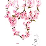 Charmly-2-Pcs-Artificial-Cherry-Blossom-Vine-Faux-Sakura-Garland-Oriental-Cherry-Wreath-Hanging-Plants-Artificial-Flowers-Home-Garden-Yard-Fence-Party-Wedding-Decor-Each-58-FT-Pink