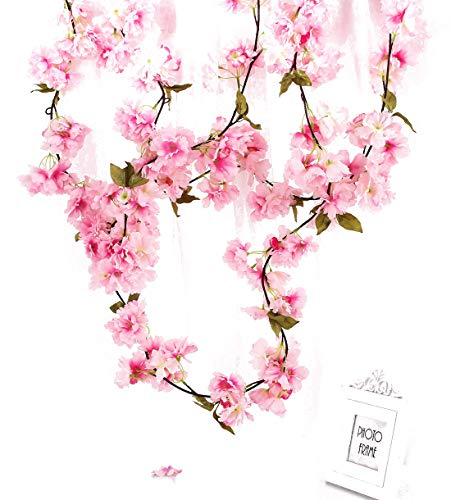 (Charmly 2 Pcs Artificial Cherry Blossom Vine Faux Sakura Garland Oriental Cherry Wreath Hanging Plants Artificial Flowers Home Garden Yard Fence Party Wedding Decor Each 5.8 FT Pink)