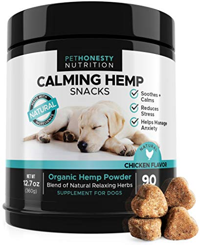 - Hemp Calming Treats for Dogs - All-Natural Soothing Snacks with Hemp + Valerian Root, Stress & Dog Anxiety Relief, Calming Aid for Dogs Helps Travel, Separation, Car Rides, Thunderstorms, 90ct