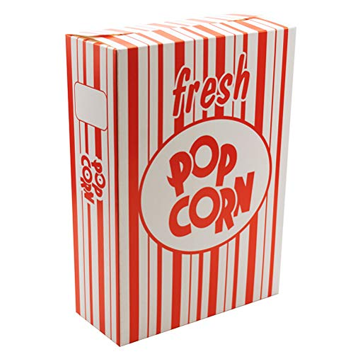 Large Popcorn Boxes (Fasmov Set of 100 - Close Top Movie Theater Popcorn Boxes, Carnival Circus Party Favors (Red and White)