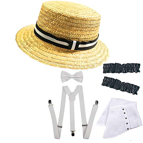 1920s Mens Gangster Gatsby Straw Hat,Gangster Spats,Armbands,Y-Back Elastic Suspenders & Pre Tied Bow Tie,Pocket Square,Boutonniere for -