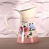 Small Shabby Metal Jug Hydrangeas Roses Dusky Pink Lilac Shades French Vintage Style Jardin Botanique Butterfly 16cm
