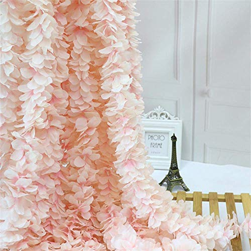 Homcomoda 4PC Artificial Silk Hydrangea Flower Hanging Wisteria Cattleya Vine Garland Each 200 Flower Spray Arrangements for Wedding Wreath Home Garden Party Decor (Light Pink)