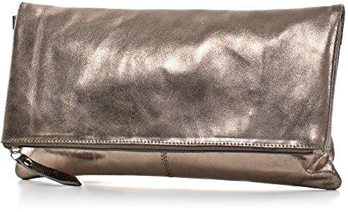 CNTMP - bolso para señora, clutch, bolso clutch,bolso de cuero metálico, bolsos de tendencia, bolsas, bolso de fiesta, bolso de mano, 32 x 17 x 2, 5 cm (l x an x a) gris