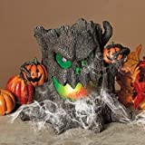 Cosmos eStore Electric Lighted Halloween Resin Tree Stump with Aerator Disk Animated Living Room Pathway Indoor Figurine Holiday Party Prop Decor