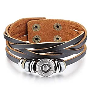 Brown Leather Rope Wrap Bracelet with Metal Alloy Flower Charm, Beads, and Twine