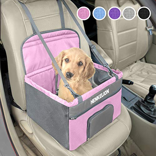 Henkelion Pet Dog Booster Seat, Deluxe Pet Booster Car Seat for Small Dogs Medium Dogs, Reinforce Metal Frame Construction, Portable Waterproof Collapsible Dog Car Carrier with Seat Belt - Pink