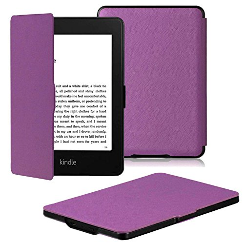 OMOTON Kindle Paperwhite Case Cover - The Thinnest Lightest PU Leather Smart Cover Kindle Paperwhite fits All Paperwhite Generations Prior to 2018 (Will not fit All New Paperwhite 10th Gen), Purple (1 Paperwhite)