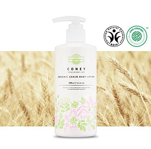 FARMGRAIN CONEY Organic Grain Baby Lotion 300ml / 10.1 fl.oz. by | Premium Baby Care | EWG Verified | BDIH Certified | USDA Organic | Sulfate-free, Paraben-free |