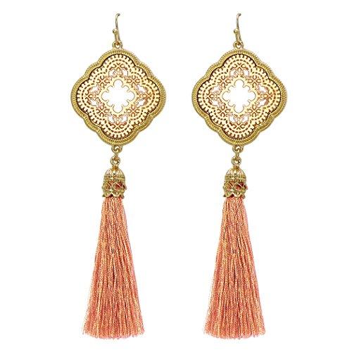 Rosemarie Collections Women's Modern Design Thread Tassel Drop Moroccan Style Earrings (Rose Gold)