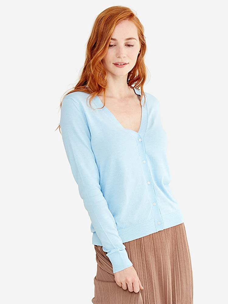 State Cashmere Womens Lightweight Long Sleeve Button Up Basic Sheer Cardigan