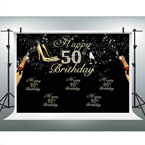 - LUCKSTY Girl's 50th Birthday Party Backdrops for Photography 9x6FT Champagne High Heels Gold Black Photo Backgrounds Photo Booth Studio Props LULX054