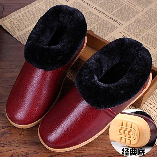 Soggiorno caldo inverno scarpe impermeabili tendine di manzo fondo cuoio pantofole di cotone confezione con cotone scarpe anti-slip base ,36, Rosso classico