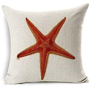 LYF con estilo moderno de estrella de mar de algodón/lino diseño de funda de almohada