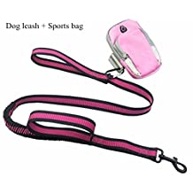 Gracefur 2 Handles Sports Dog Training Leash, 3.9ft.-5.5ft. Durable and Flexible Leads Rope for Medium and Large Dogs Style 1 Rose