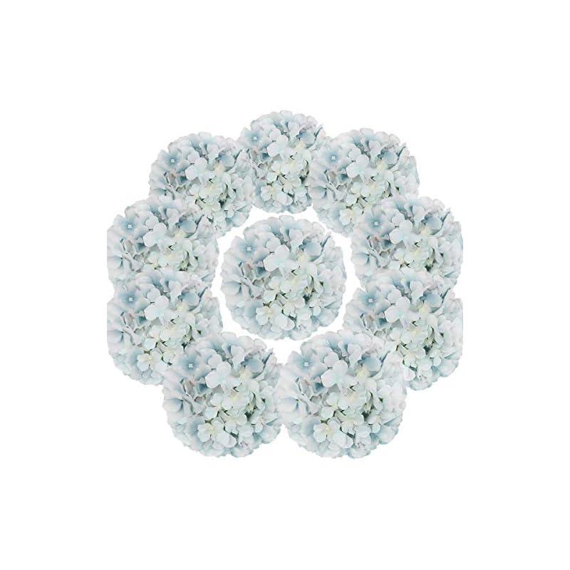 silk flower arrangements flojery silk hydrangea heads artificial flowers heads with stems for home wedding decor,pack of 10 (lake blue)