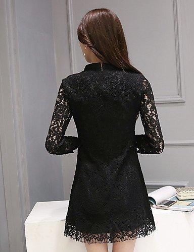 PU&PU Robe Aux femmes Gaine / Lace Sexy / Simple,Couleur Pleine Col Arrondi Au dessus du genou Polyester / Spandex , red-l , red-l