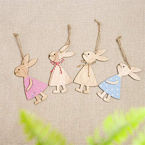 Garish  Easter Handmade Rabbit Bunny Wooden Pendant Hanging Decoration Mini Home Decor by Garish (Image #4)