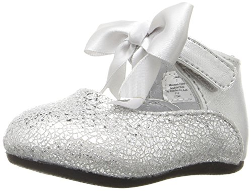 Image of Baby Deer Girls' Metallic with Ankle Strap Toddler Slip-On, Silver, 3 M US Infant