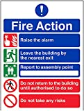 VSafety General Fire Action 5 Message Risks Sign - Portrait - 150mm x 200mm - Self Adhesive Vinyl