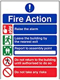 VSafety 12006AN-S Fire Action Sign, General Fire Action/5 Message Risks, Self Adhesive, Portrait, 150 mm x 200 mm, Black/Blue/Green/Red