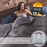 OMYSTYLE King Size Weighted Blanket 20lbs(88''x104'', Grey), King Weighted Blanket for Adults with 100% Soft Cotton and Glass Beads - Carry Bag Included