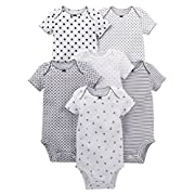 Simple Joys by Carter's Baby Girls' 6-Pack Short-Sleeve Bodysuit, Black/White, 0-3 Months