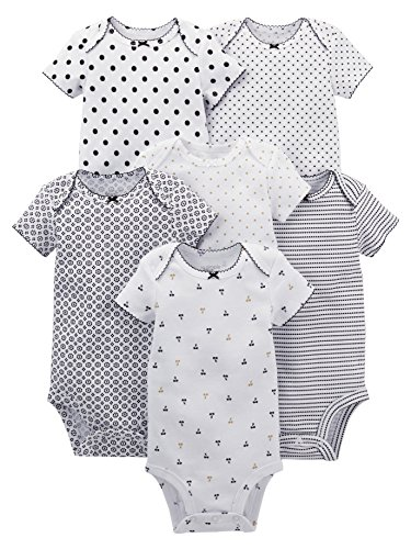Simple Joys by Carter's Baby Girls' 6-Pack Short-Sleeve Bodysuit, Black/White, Newborn]()