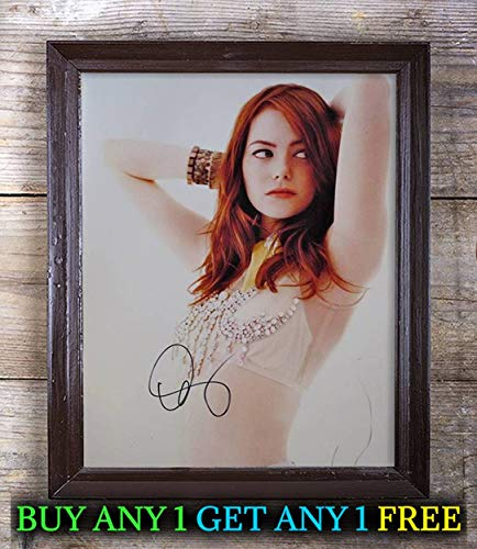 Emma Stone La La Land Autographed Signed Reprint 8x10 Photo #75 Special Unique Gifts Ideas for Him Her Best Friends Birthday Christmas Xmas Valentines Anniversary Fathers Mothers - Stone Signed