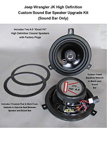 Jeep Wrangler JK Premium High Definition Sound Bar Speaker Upgrade Kit for 2007-2018 Reuses Factory Grill