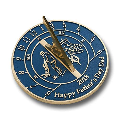 Happy Fathers Day Dad Sundial Gift Idea. Cool New Card Or Mug Alternative Can Be from Son, Daughter, The Kids Or The Dog for Dad, Grandpa Or Step Dad. Handmade in England by The Metal Foundry - Golf Sundial