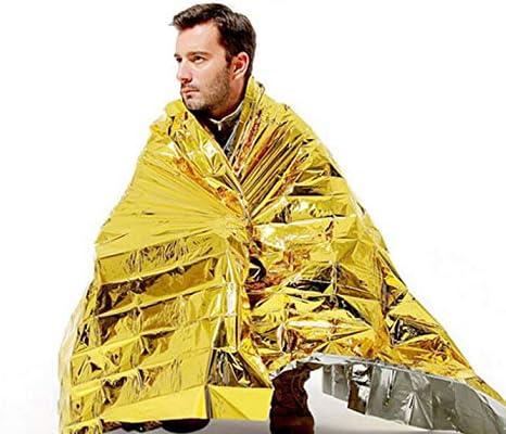 CamKpell PET Rettungsdecke Outdoor Survival Insulation Blanket Coating Film Lebensrettende Rettungsdecke Gold /& Silber