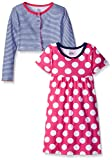 Image of Gerber Little Girls' Toddler Two-Piece Cardigan and Dress Set, Dots, 3T