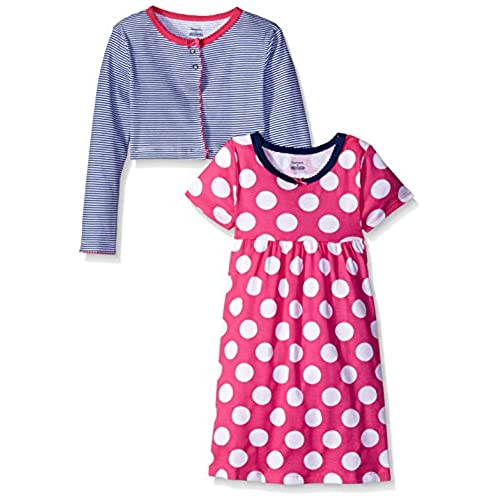 Gerber Little Girls Toddler Two-Piece Cardigan and Dress Set, Dots, 4T