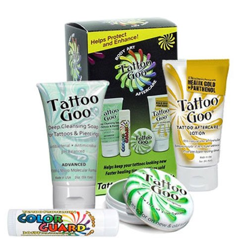 Tattoo Goo Aftercare Kit Includes Soap, New formula, Tattoo Goo, Lotion, Color Guard