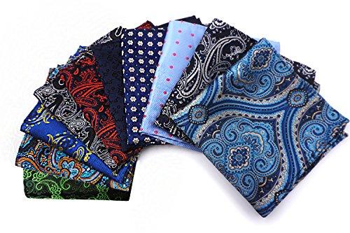 AVANTMEN 10 PCS Men's Pocket Squares Assorted Woven Handkerchief Hanky with Gift Box (10 x 10