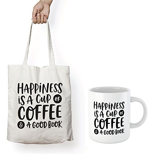 Book Lover Reading Tote & Coffee Mug, BW Quote - HAPPINESS IS A CUP OF COFFEE & A GOOD BOOK - Bookworm Gifts, Funny Bookish Coffee Mug, Reader Gift, Teacher Gift!