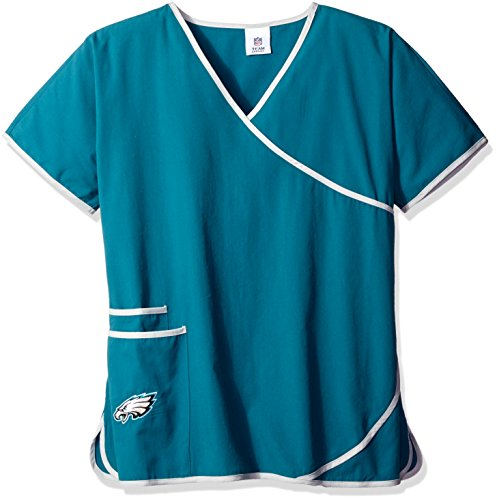 Scrub Dudz Women's  NFL Women's Mock Wrap Scrub Top, Philadelphia Eagles, Medium, Green]()