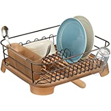 mDesign Dish Drainer with Swivel Spout for Kitchen Countertop - Amber/Bronze