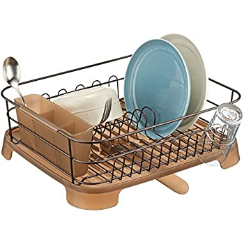MDesign Dish Drainer With Swivel Spout For Kitchen Countertop   Amber/Bronze