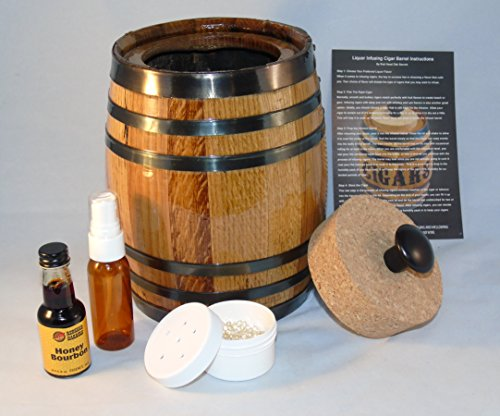 Cigar Barrel Humidor Kit With Flavored Alcohol Essence To Flavor Your Cigars At (Cigar Essence)