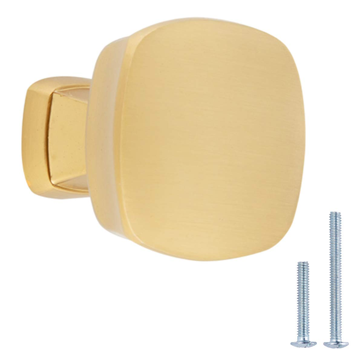 AmazonBasics Rounded Square Cabinet Knob, 1.26'' Diameter, Golden Champagne, 10-pack