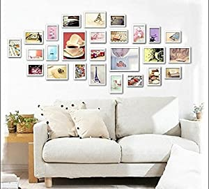 yanksmart 26 piece wooden wall hanging collage photo picture frame wall art wood art home decor multi piece photo frame set white s36m54