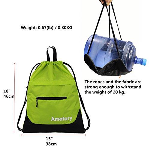 Drawstring Backpack Sports Gym String Bag Cinch Sack Gymsack Sackpack Waterproof (Green) by Amatory (Image #3)