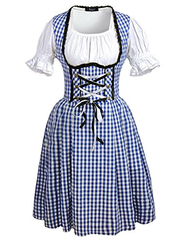 Tavern Maiden Womens Costume (DJT Women's 3 Pcs Dirndl Serving Wench Bavarian Beer Girl Oktoberfest Adult Costume L)