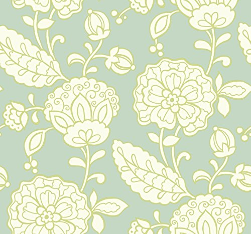 - York Wallcoverings EB2060 Candice Olson Vibe Chunky Floral Wallpaper, Sea Foam Green / White / Lime Green
