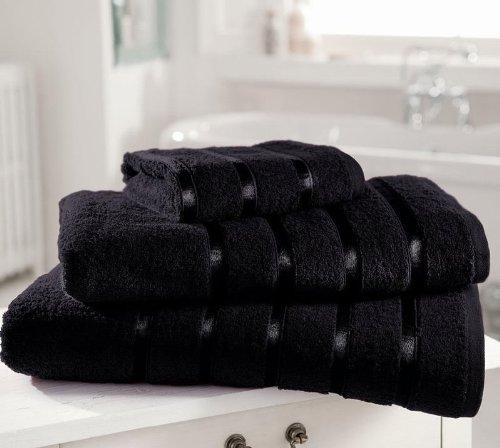 Egyptian Cotton Towel PREMIUM Extra Soft 600gsm Kensington Satin Stripe HAND TOWEL, BLACK Bedding Online