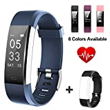 Lintelek Fitness Tracker, Slim Activity Tracker with Heart Rate Monitor, IP67 Waterproof Step Counter, Calorie Counter, Pedometer for Kids Women and Men (Navy + Black)
